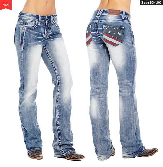 【Support Made in America】American Flag Stretch Washed Bootcut Jeans