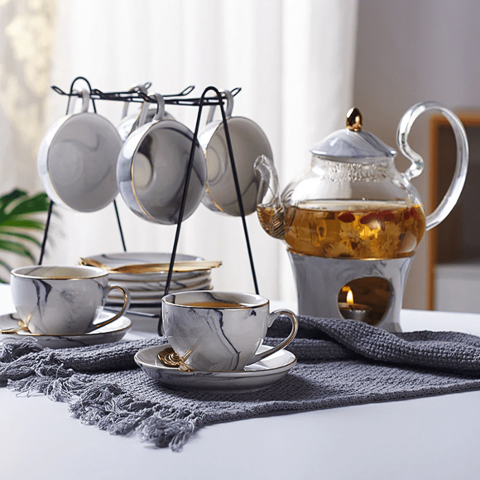Marble Teacup Collection Set