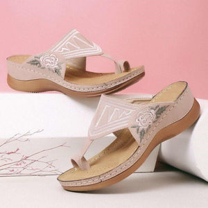 Embroidery Comfy Wedges Sandals
