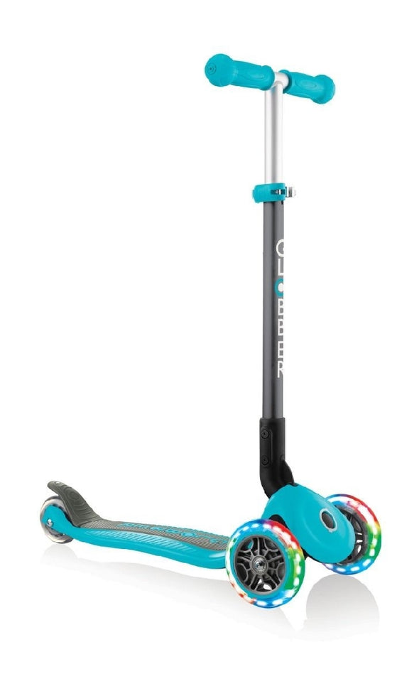 GLOBBER PRIMO FOLDABLE 3 WHEEL SCOOTER LIGHT UP WHEELS TEAL