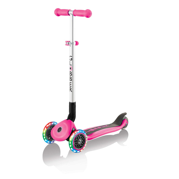 GLOBBER PRIMO FOLDABLE 3 WHEEL SCOOTER LIGHT UP WHEELS DEEP PINK
