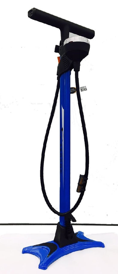 SERFAS FLOOR PUMP WITH GUAGE FITS PRESTA & SCHRADER VALVE BLUE