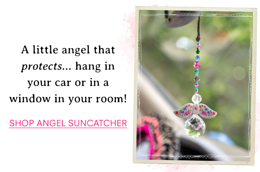A little angel that protects...hang in your car or in a window in your room! Shop angel suncatcher