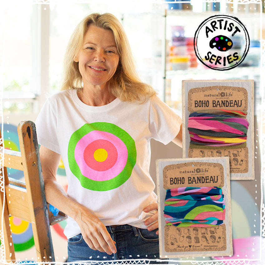 Stephanie Henderson wearing the t-shirt from our Artist Series