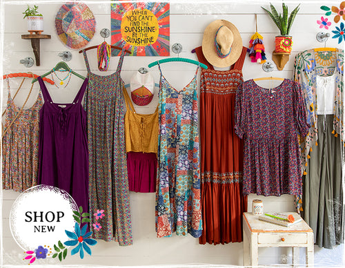 """We love to make clothes we want to wear in our free spirit style! Bohemian… Comfortable… Casual… Fun to wear! Shop now.""""> </source></source></picture></a>"""