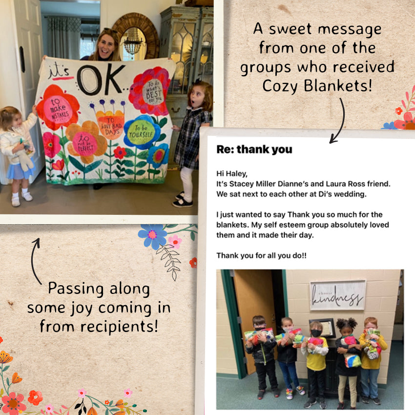 A sweet message from one of the groups who received Cozy Blankets! Passing along some joy coming in from recipients!