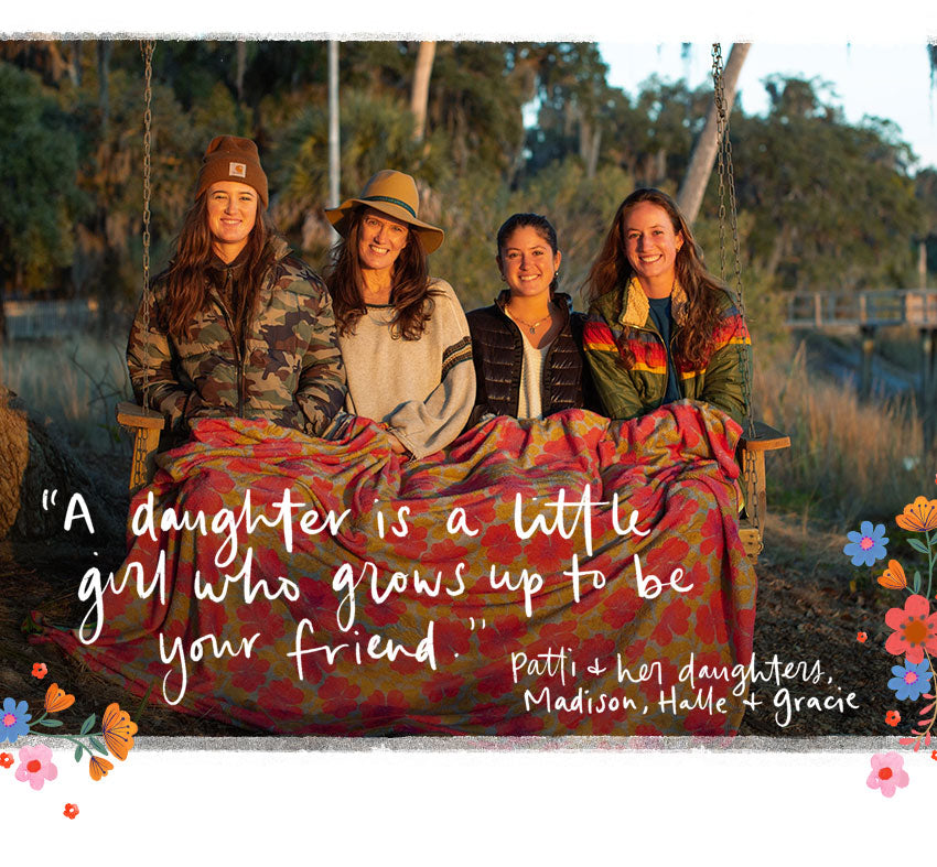 """A daughter is a little girl who grows up to be your friend."" Patti & her daughters, Madison, Halle & Gracie"