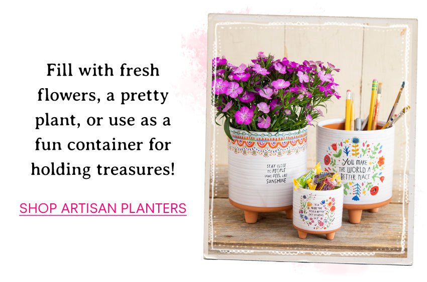 Fill with fresh flowers, a pretty plant, or use as a fun container for holding treasures! Shop Artisan Planters