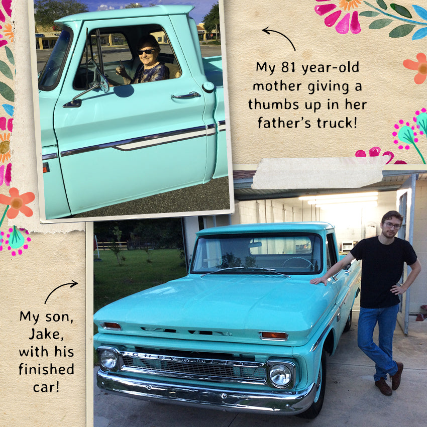 My 81 year-old mother giving a thumbs up in her father's truck! My son, Jake, with his finished car!