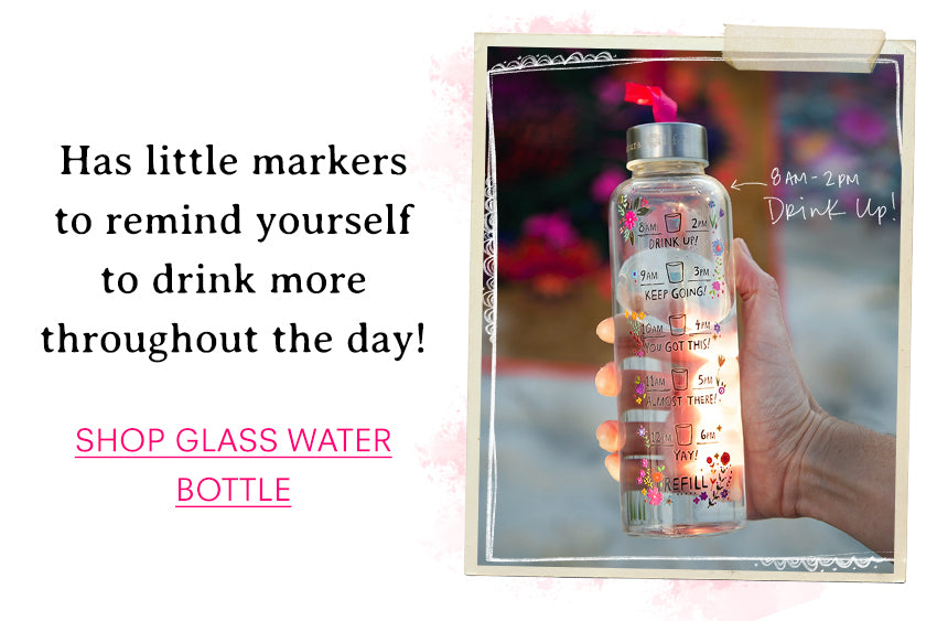 Has little markers to remind yourself to drink more throughout the day! Shop glass water bottle