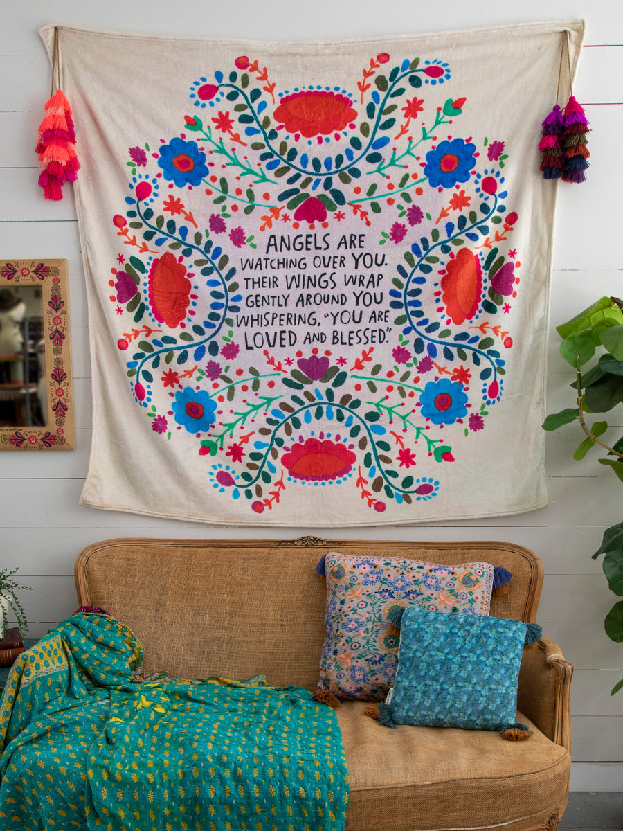 Angels Watch Over You Tapestry Blanket Natural Life