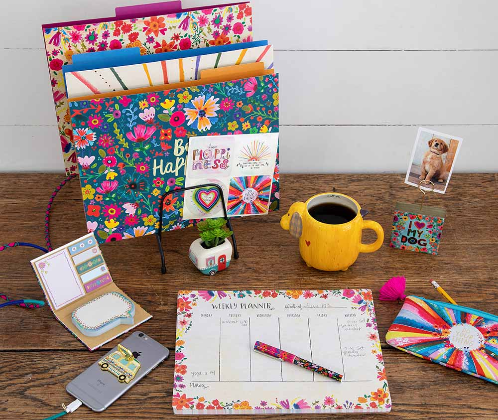 Desk decorated with inspirational accessories