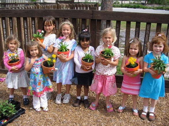 girls with flower pots