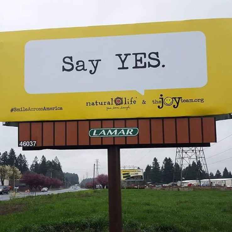 "Billboard that says ""Say YES."""