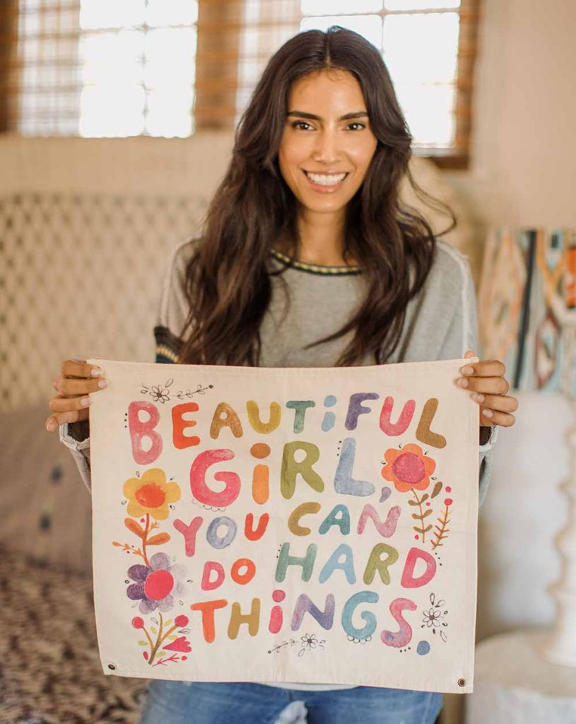 Mini Canvas Tapestry that says beautiful girl you can do hard things
