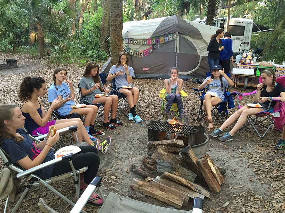 girls camping for birthday party