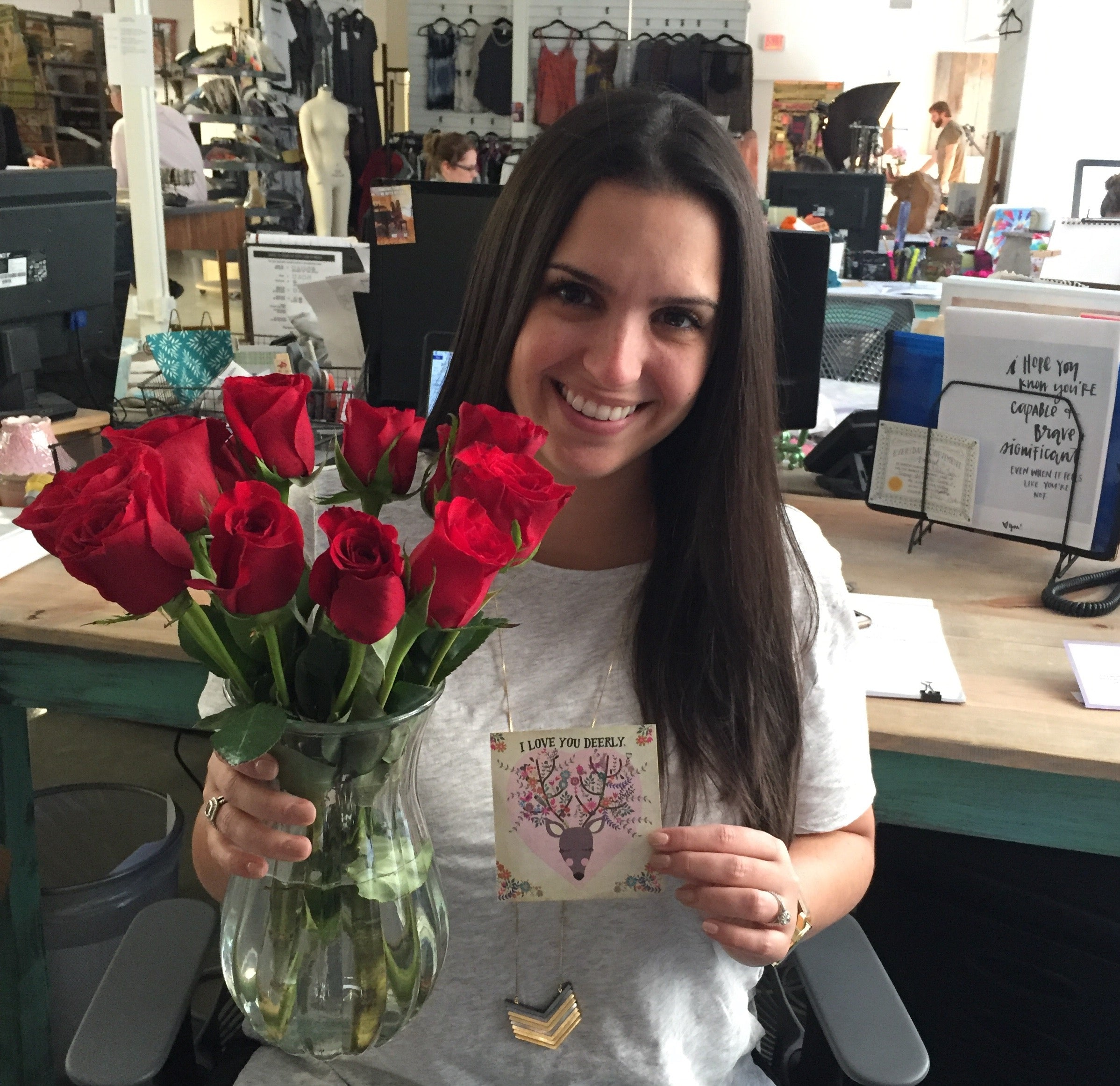 Natalie with flowers from her husband