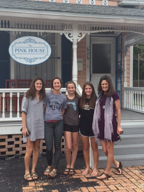 Patti and her daughters visiting The Pink House
