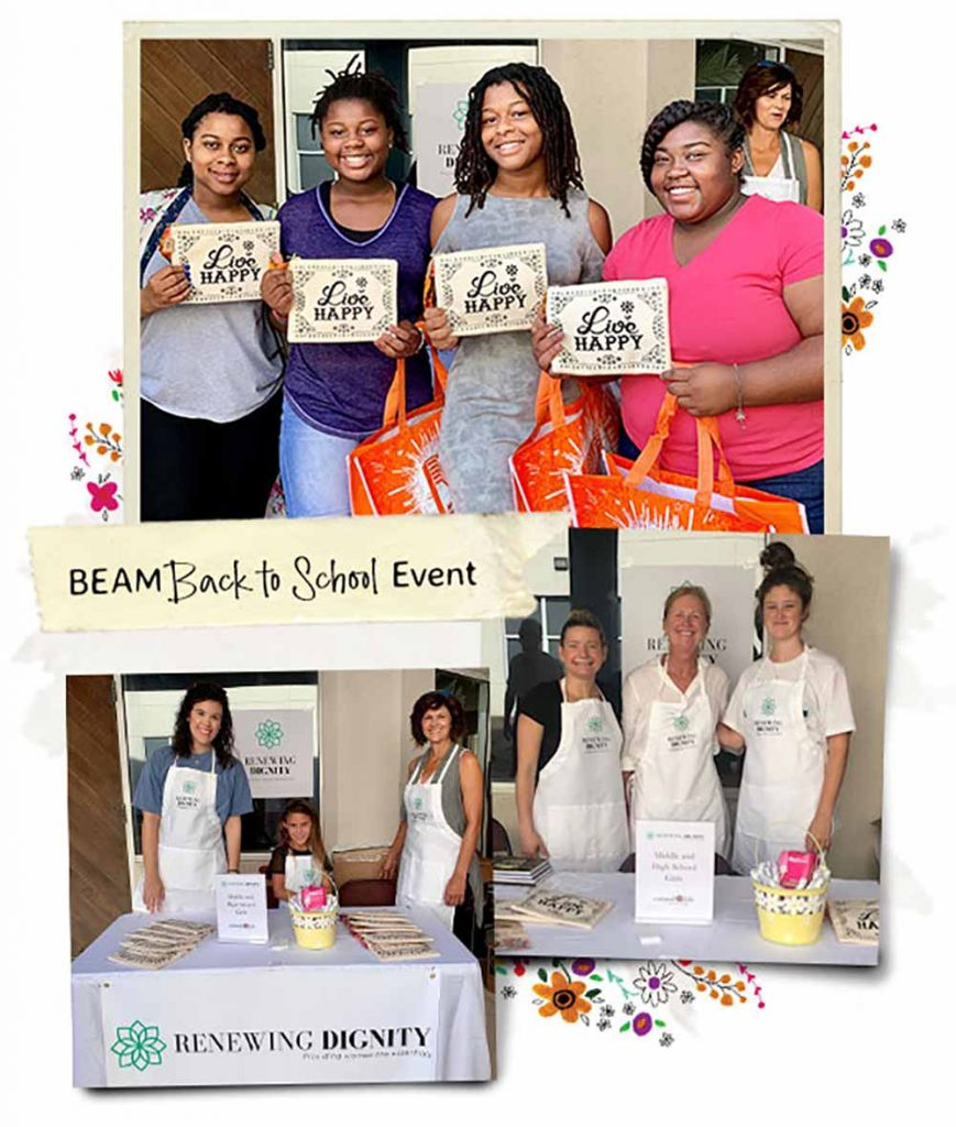 Collage of women from our Renewing Dignity 'back to school' event.