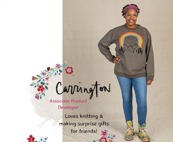 Carrington wearing inspirational sweatshirt and boots