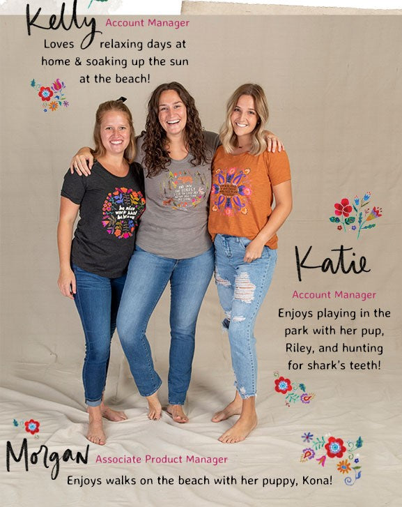 3 girls wearing cute clothes- comfy tees and jeans- smiling at the camera