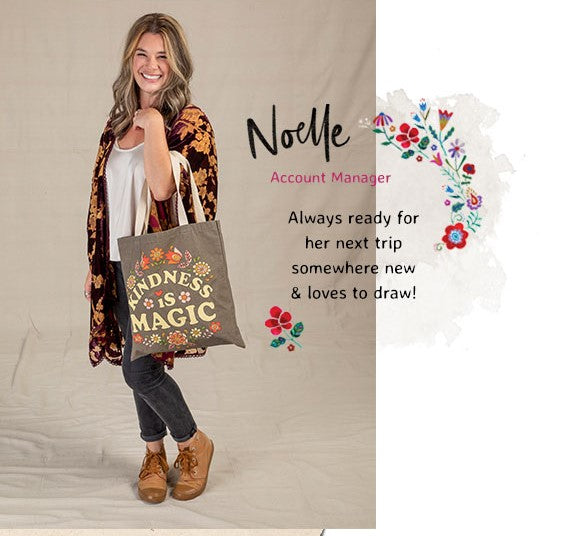Noelle wearing kimono and jeans carrying a chirp tote bag