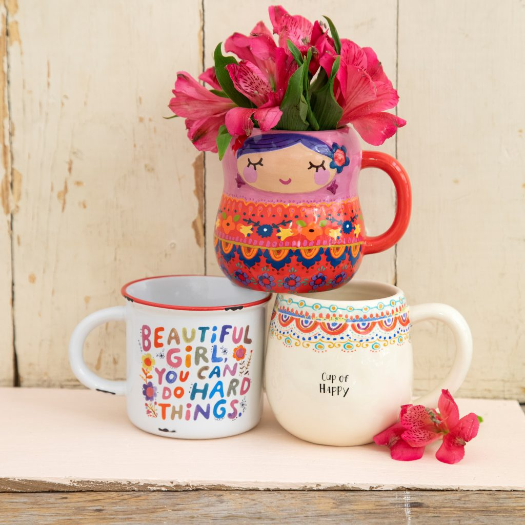 Cute mugs in fun shapes and inspiring quotes