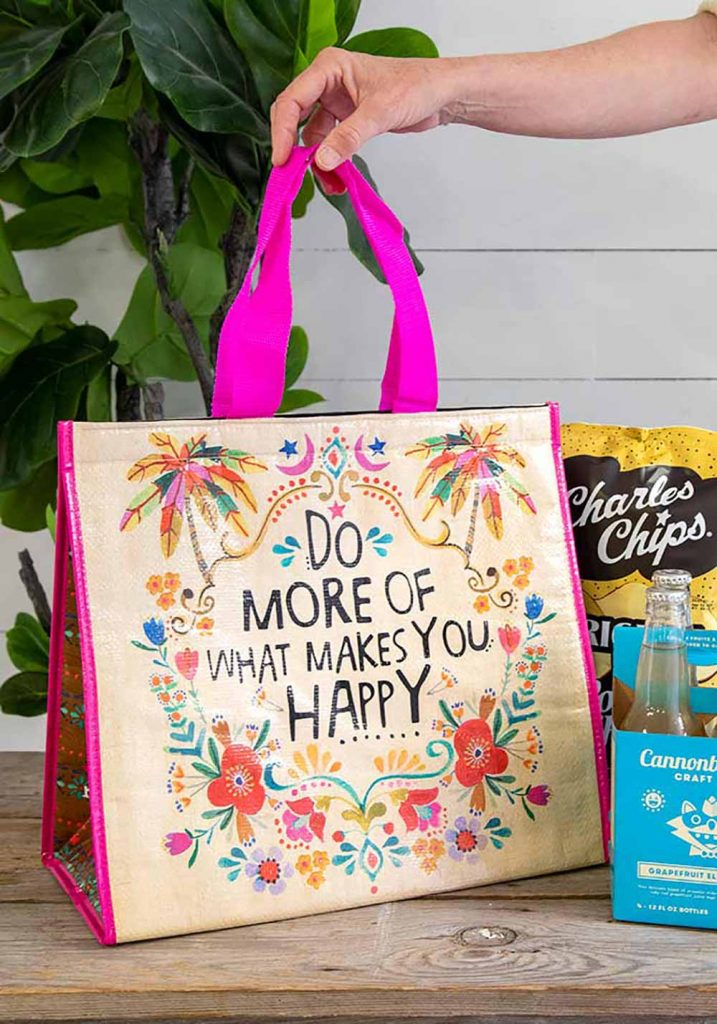 Insulated tote bag with happy sentiment, perfect for backyard camping!