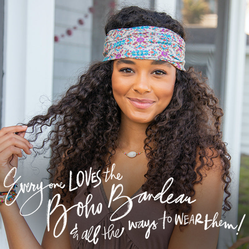 Everyone loves the Boho Bandeau & all the ways to wear them girl wearing comfortable cancer hair accessory