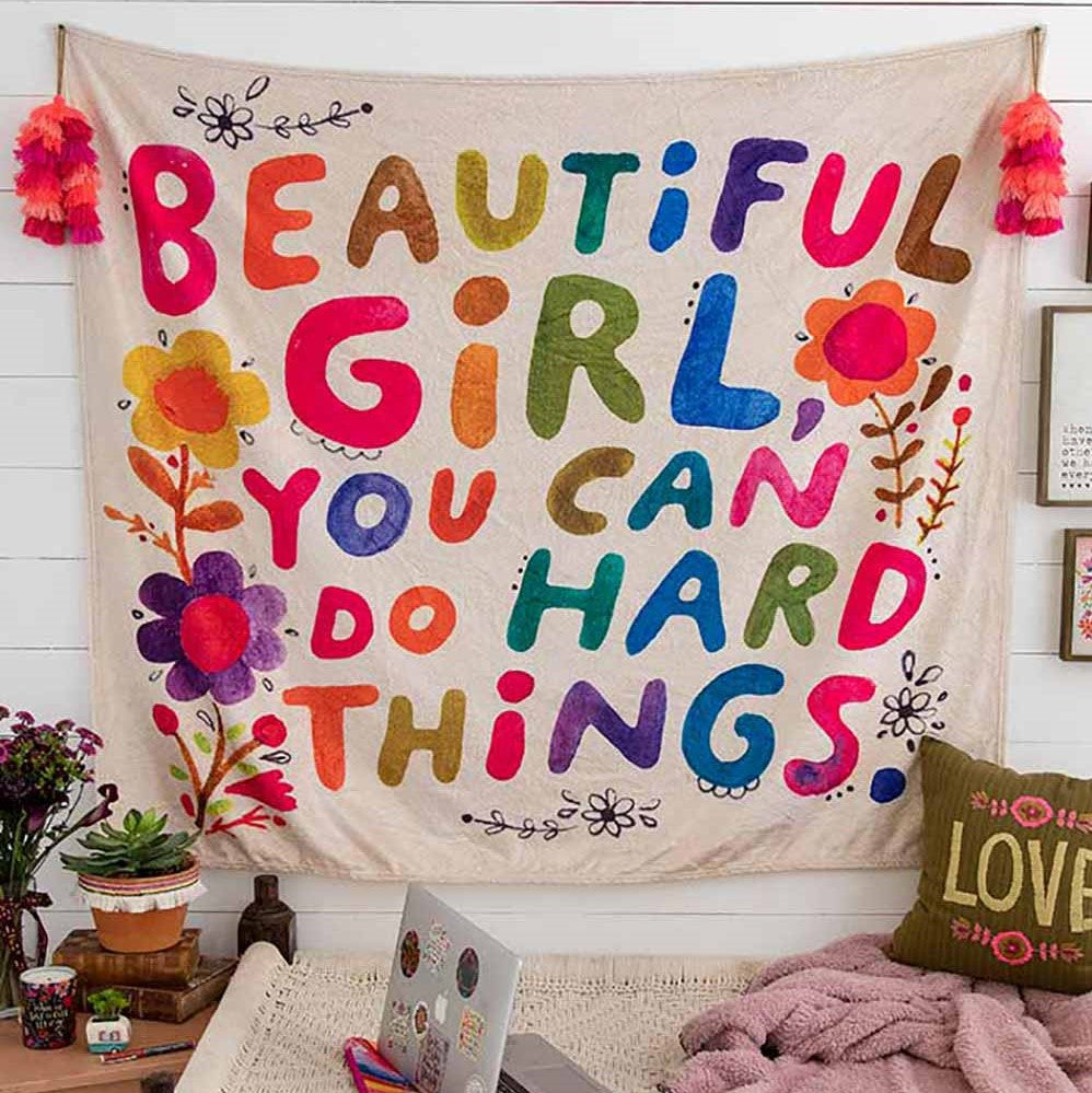 beautiful girl you can do hard things tapestry blanket