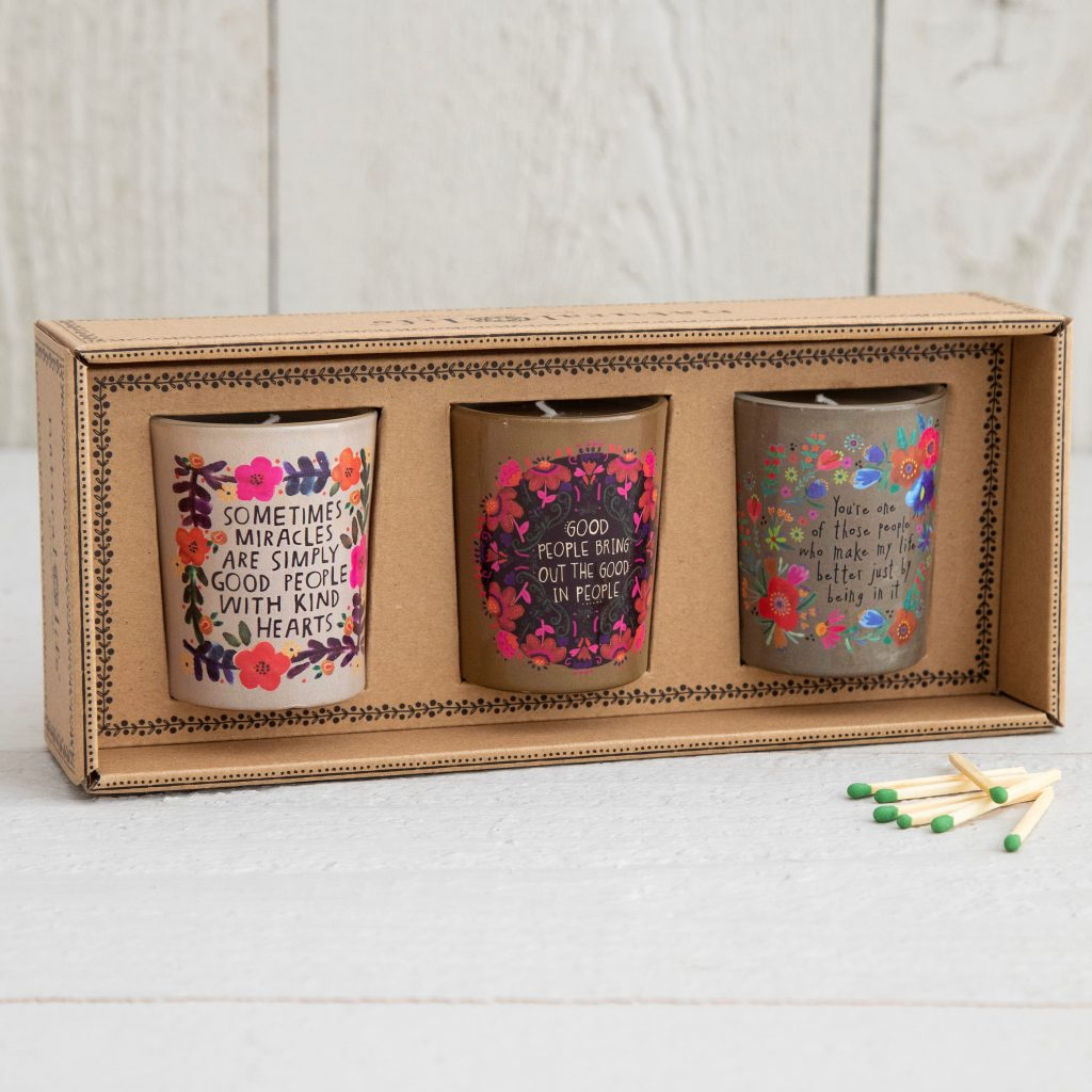 Set of 3 Votive Candles in Box