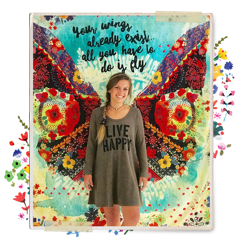 We love teachers so this makes the perfect gift! Cute girl in front of tapestry that says Your wings exist all you have to do is fly