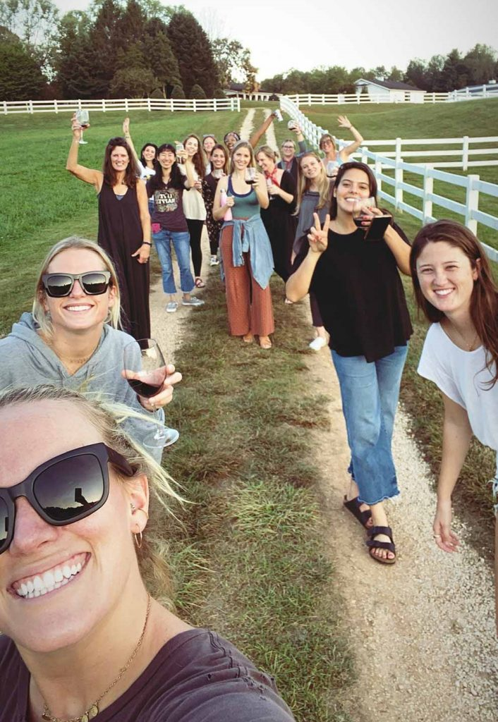 Artist retreat selfie on farm