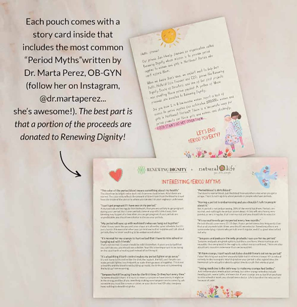 Photo of Period Pouches with their story in inside of how they are so special to our CEO Patti Hughes