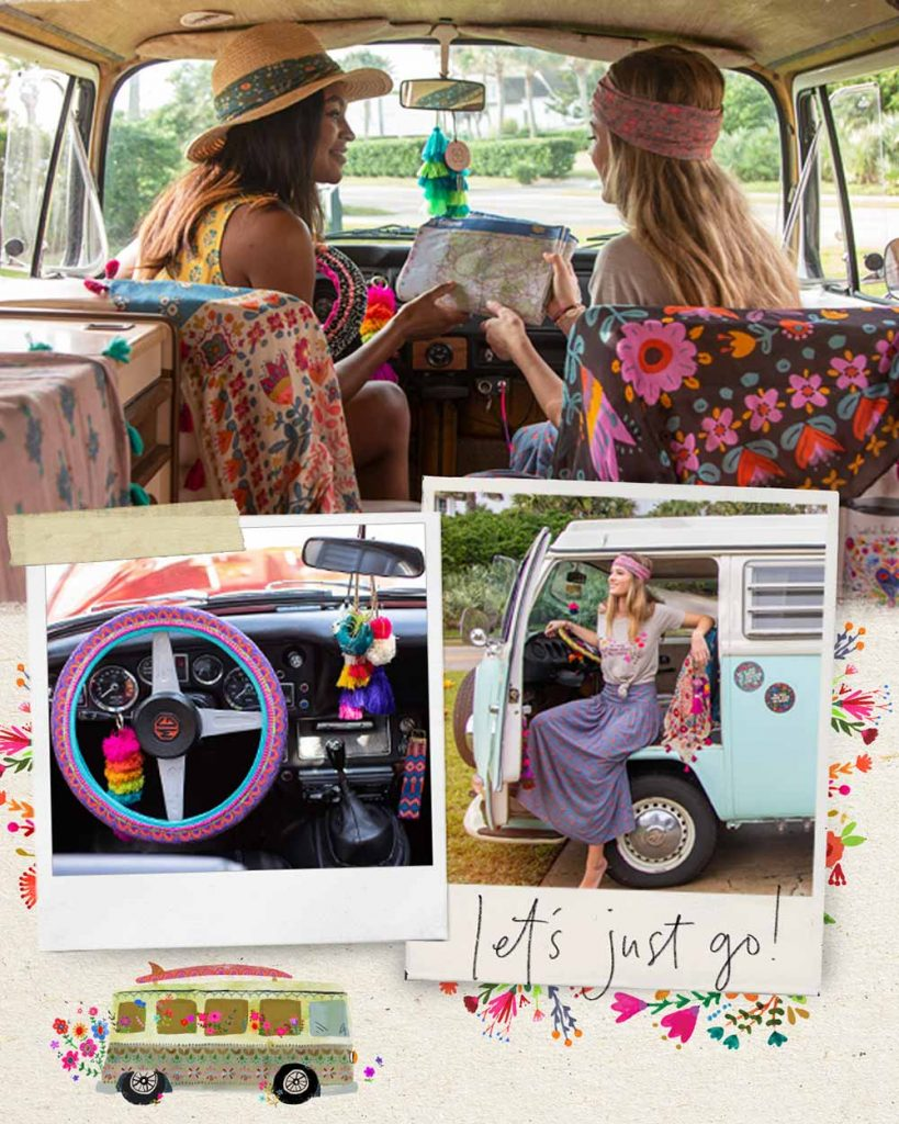 Collage of photos featuring car accessories