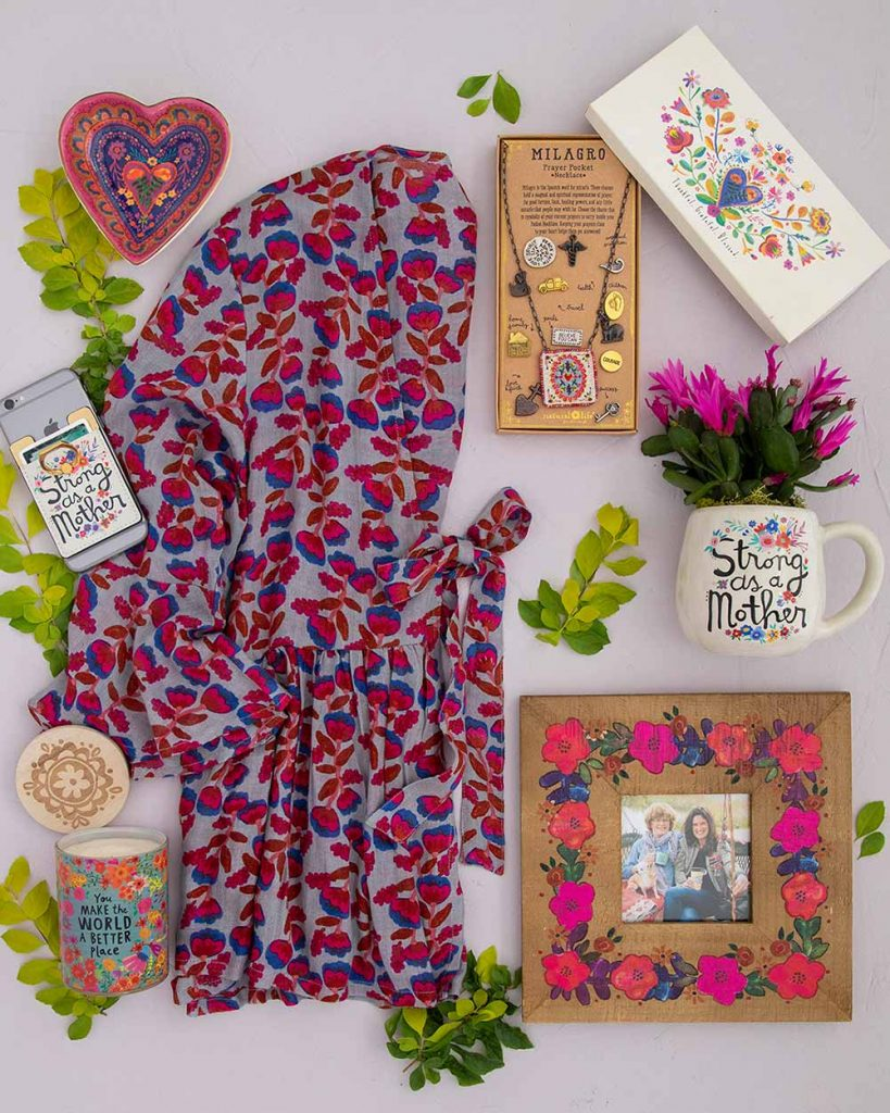 Perfect Mother's Day Gifts flatlay with tie top, necklace, mug, frame, candle and more!