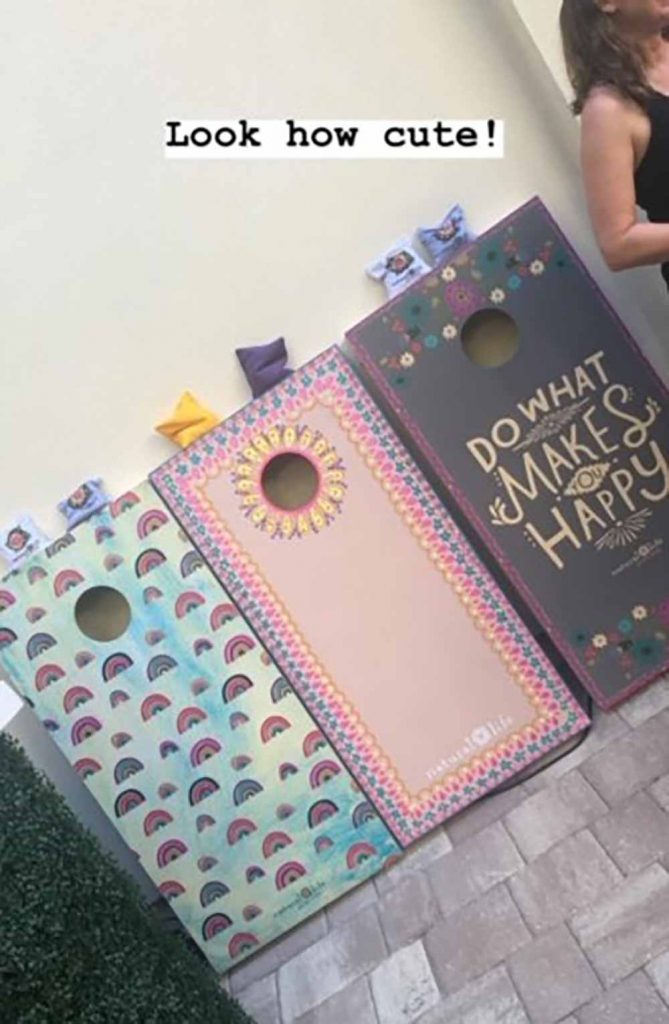 Natural Life's super cute decked out corn hole boards