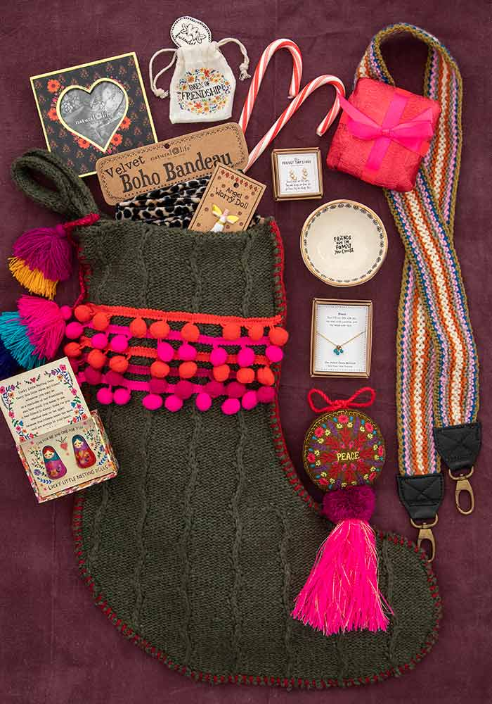 Stockings flatlay with perfect little gifts