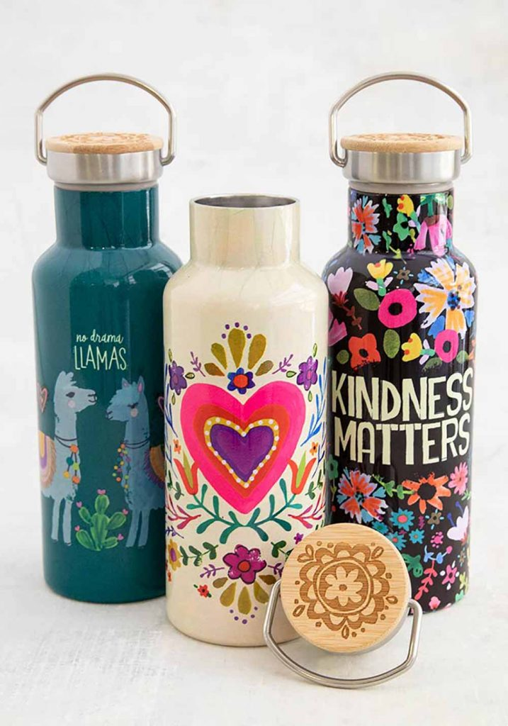 Traveler bottles with colorful sentiments to pack with your picnic blanket!