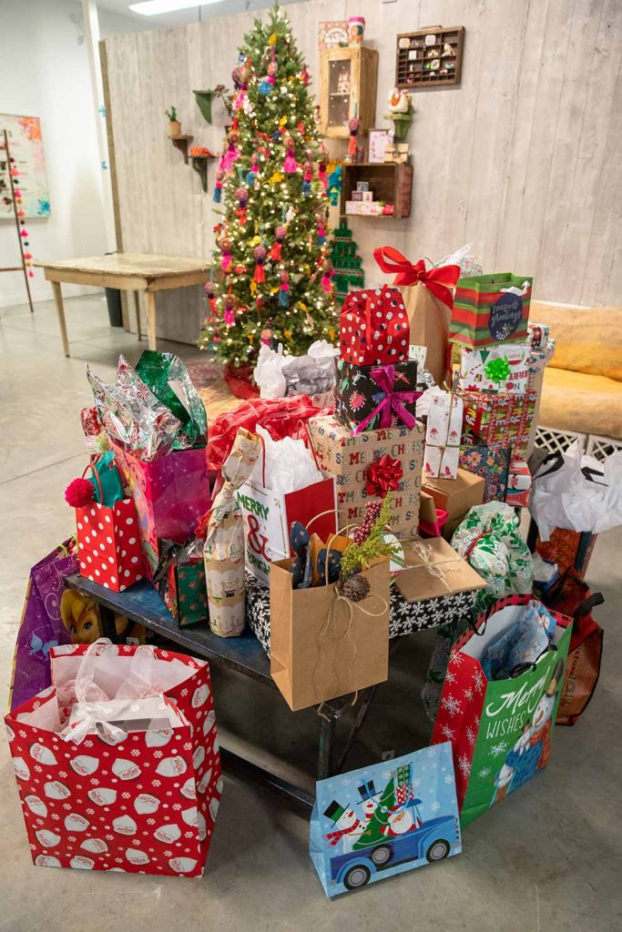 White elephant gifts at natural life holiday party