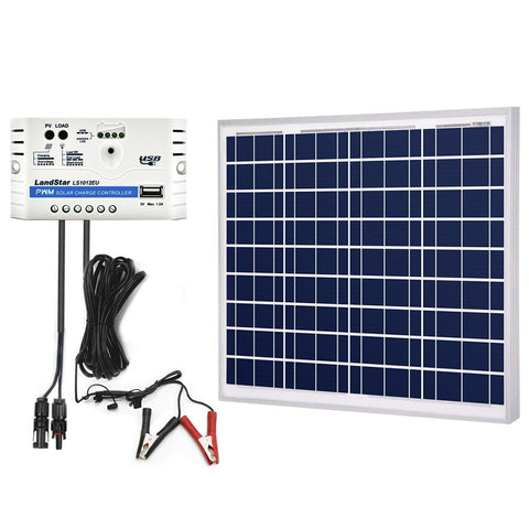 Image of ACOPOWER 50W 12V Solar Charger Kit, 10A Charge Controller with Alligator Clips