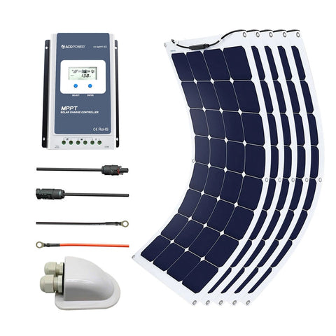 Image of ACOPOWER 550Watts Flexible Solar RV Kit w/ 40A MPPT Charge Controller, Solar Cable Wire,Tray Cable and Y Branch Connectors,Cable Entry Housing for Marine, RV, Boat, Caravan