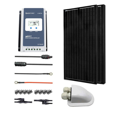 Image of ACOPOWER 12V/24V 200W All Black Mono Solar RV Kits, 30A MPPT Charge Controller