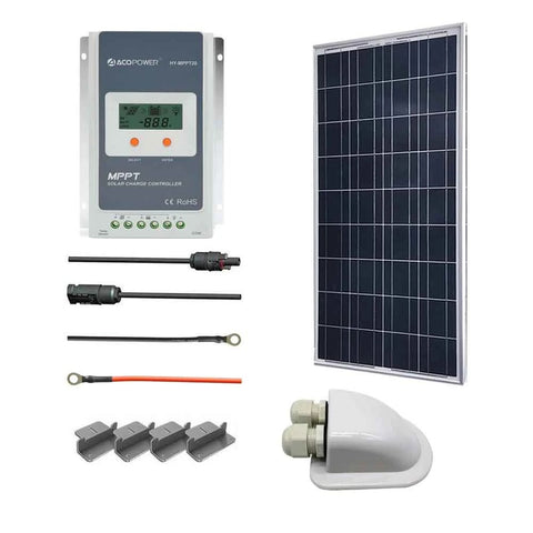 ACOPOWER 100W 12V Poly Solar RV Kits, 20A MPPT Charge Controller