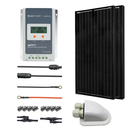 Image of ACOPOWER 12V/24V 200W All Black Mono Solar RV Kits, 20A MPPT Charge Controller