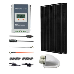 ACOPOWER 12V/24V 200W All Black Mono Solar RV Kits, 20A MPPT Charge Controller