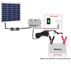 ACOPOWER 50W 12V Solar Charger Kit, 10A Charge Controller with Alligator Clips