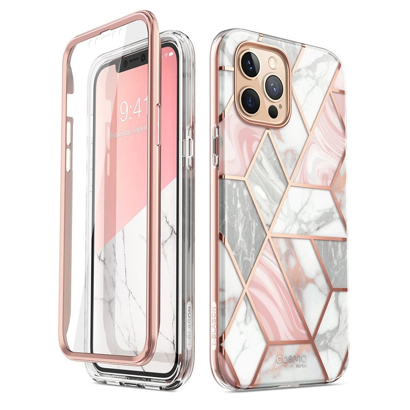 Geometric Marble Case W/ Screen Protector | iPhone 12 Pro Max