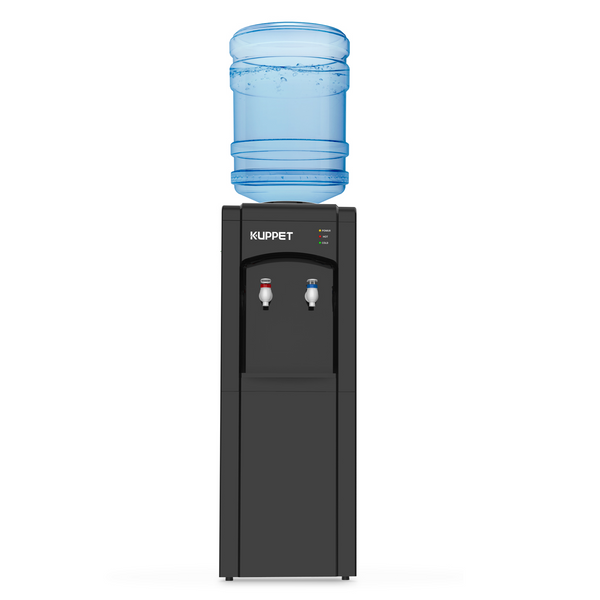 KUPPET Top Loading Water Cooler Dispenser, 3 or 5 Gallon Bottle, PP material Electrical Cooling HOT and COLD Anti-Scalding Design And Storage Cabinet With Child Safety Lock For Home Use, Black