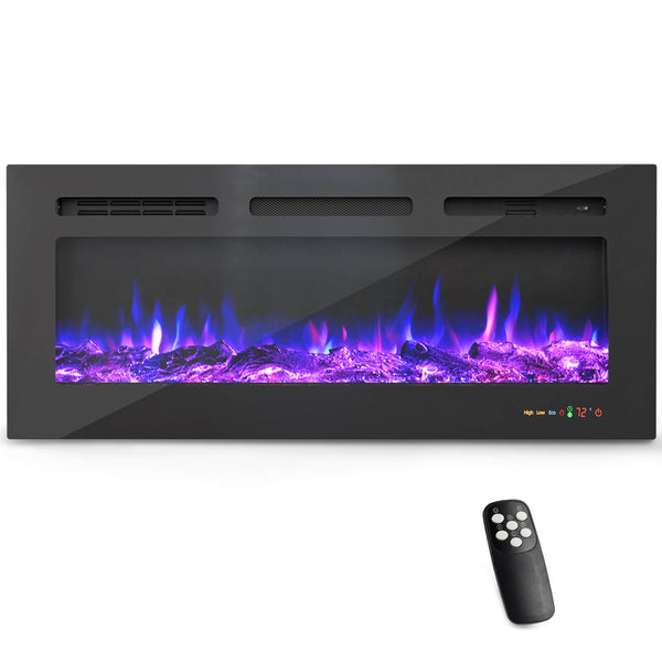 KUPPET 40 Inches Electric Fireplace WiFi Control Recessed and Wall Mounted with Overheating Protection,Thermostat,Timer & Remote, Log & Crystal,Touch Screen Compatible with Alexa